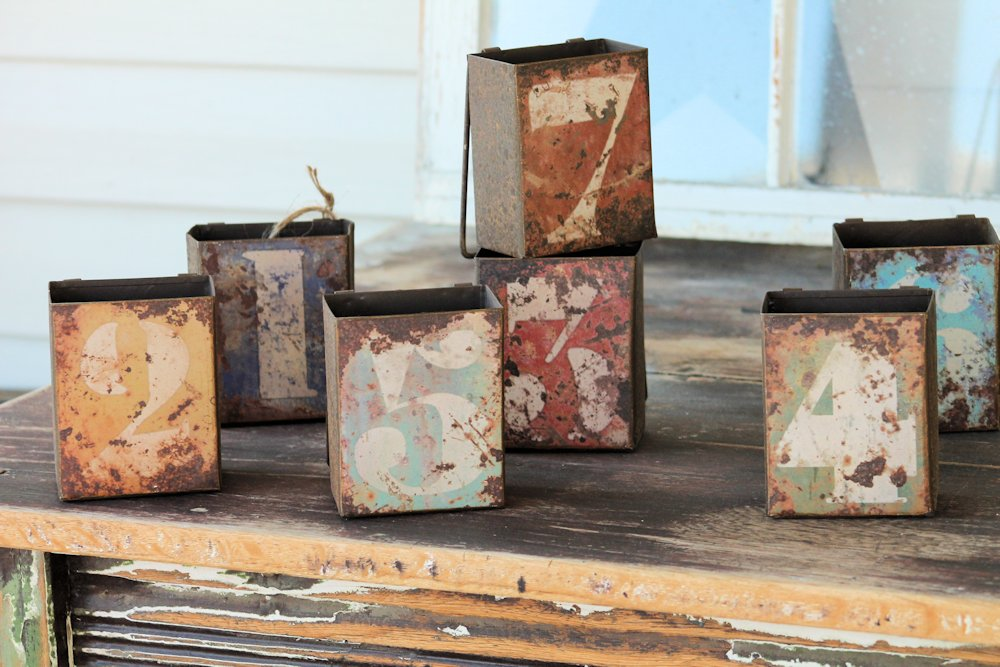 Distressed Numbered Metal Boxes
